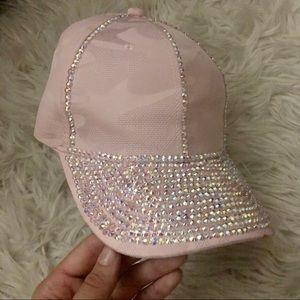 Baby pink rhinestone hat